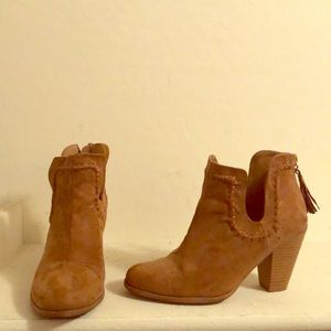 Brown faux suede booties sz. 6.5